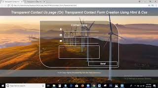 Transparent ContactUs Page and Contact Form With Transparent background Using Html & Css