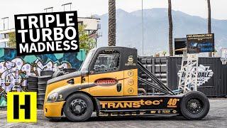 2,400 Horsepower Triple Turbo Semi Truck Obliterates its Tires: Mike Ryan's Hillclimb Beast