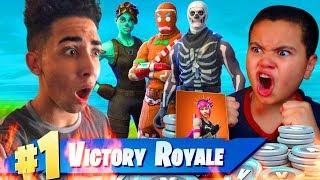 INSANE 1V1 9 YEAR OLD BROTHER VS CRAZY TRASH TALKER (SNIPERSLRN) 13,500 V BUCKS WAGER IN FORTNITE!!!