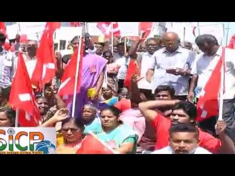 CPM cadres protest outside corporation office for basic amenities