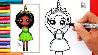 Aprende a dibujar una NIÑA UNICORNIO MORENA Kawaii | How to Draw a Cute Unicorn Girl with Dark Skin