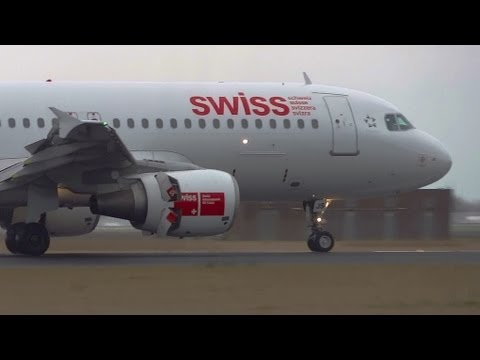 A320-214SWISS HB-IJS smooth landing and thrust reverse at AMS Schiphol