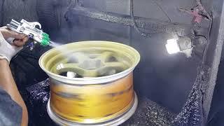 ล้อแม็กรถยนต์พ่นระบบโครเมี่ยมสีทองbyเล็กเคฟล่าดอนเมือง 081 632 9659