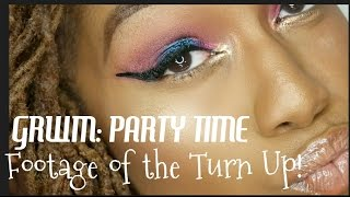 GRWM Party Time! Bold Blue/Pink Eyes and Nude Glossy Lips
