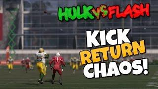 Insane Kick Return Chaos HULK VS FLASH!! Madden 17 Mini Games (Super Hero Edition!)