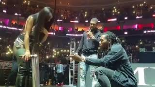 Offset proposes to Cardi B on stage. She said yes!
