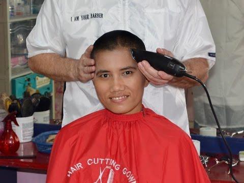 Woman barbershop buzzcut