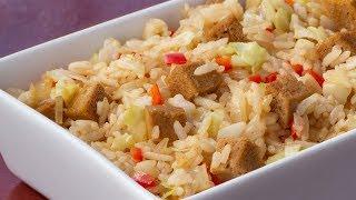 Chinese fried Rice with marinated Tofu - Vegetarian Recipe