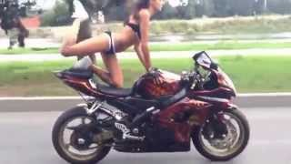 SEXY Russian Girl Riding a Motorcycle