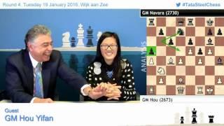 4- Hou Yifan amazing win against Navara, Post game Chess Analysis - Tata Steel Chess 2016