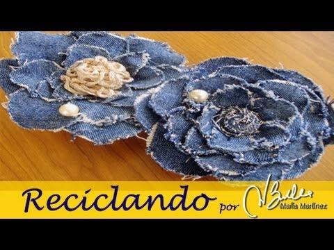 Reciclando Broche de tela vaquera inspirado en Chanel Camelia DIY Chanel Camelia Denim Brooch