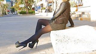 Princesswalks - Blonde Girl In Black On Black - 19cm Stiletto Platform Heels