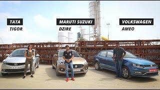 Maruti Dzire Vs Tata Tigor Vs Volkswagen Ameo: Which Is The Best Compact Sedan?