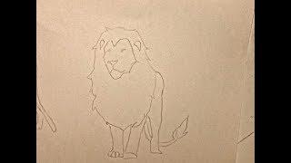 رسم اسد من الامام وهو واقف بكل سهولة
