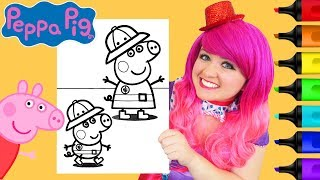Coloring Peppa Pig & George Safari Explorers Coloring Page Prismacolor Markers | KiMMi THE CLOWN
