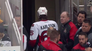 Karlsson forced to leave after his ankle appears to twist