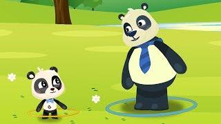 Panda Girl Enjoy New Ring Toys. Daddy Panda giving Surprise!