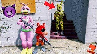 CAN FLOWER CHICA & FNAF WORLD FOXY HIDE FROM SPRINGTRAP? (GTA 5 Mods For Kids FNAF RedHatter)