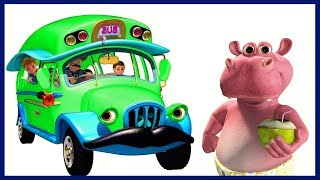 Wheels on the Bus | Green Bus Song | Nursery Rhymes Compilation for Children | KidRhymes