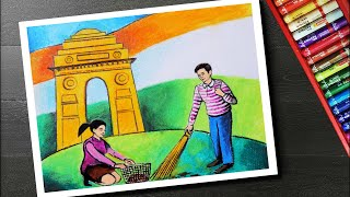 How to draw clean India drawing - Swachh Bharat Abhiyan drawing and painting - Cleanliness drawing