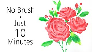 (135) Fun drawing with a spoon & knife _ Pink rose bouquet _ Dried canvas _ Designer Gemma77