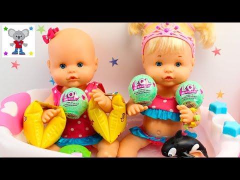 Vídeos de las Bebés NENUCO Hermanitas Traviesas Naia y Alice Baño con Muñecas LOL Examen y Picnic
