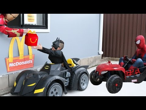 McDonalds Drive Thru Prank Batman Payback Time for Spiderman Ckn Toys