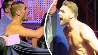 CHAOS! at WEIGH IN   Billy Joe Saunders vs David Lemieux   HEATED!!