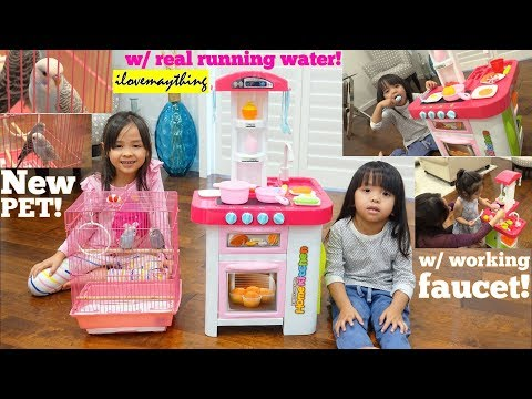 Xxx Mp4 Kids Cooking Kitchen Playset With Real Running Water Hulyan And Maya S New Pet Parakeet Birds 3gp Sex