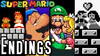 Super Mario ALL ENDINGS 1985-1995 (SNES, NES)