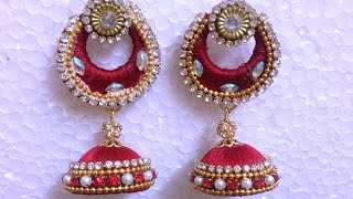 How to attach silk thread  chandbali earring with jhumka-TUTORIAL