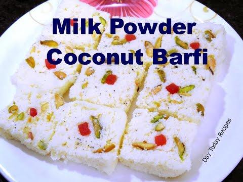 Coconut Barfi Recipe, नारियल बर्फी Milk Powder Coconut Barfi Recipe in HINDI