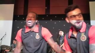virat kholi and chris gayle dance together to shane watson music RCB