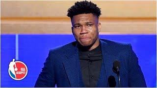 Giannis emotional thanking Bucks, family after winning MVP honors | 2019 NBA Awards