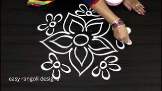 How to draw a simple flower  kolam    cute rangoli  designs     free hand  muggulu