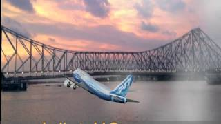 Air plane and Howrah bridge Kolkata, India . Made artificially.