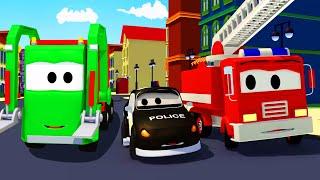 شاحنة القمامة و سيارة الدورية :شاحنة الإطفاء وسيارة الشرطة  رسوم متحركة  للأطفال في مجال الإنشاءات