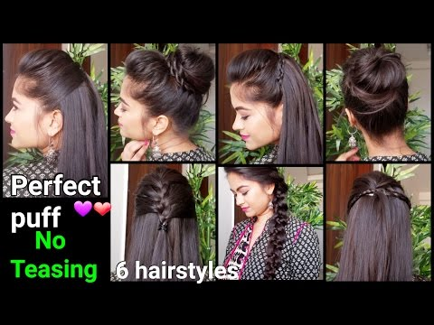 1 Min Perfect Puff & 6 QUICK EASY Hairstyles for medium to long hair for Diwali Indian hairstyles