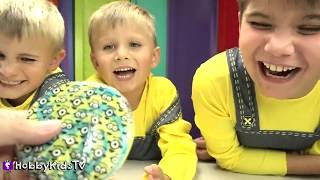 EVIL MONKEY Battles Kids for Toys! Candy + Minion Movie Despicable ME 3 Toys HobbyKidsTV