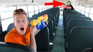 Nerf Battle vs The Hacker on Abandoned School Bus Project Zorgo must be stopped! Mystery spy mission