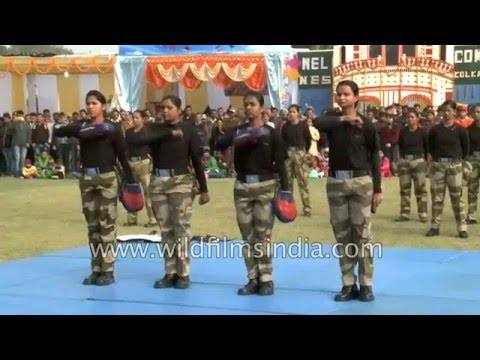Indian para-military Women show off their martial training