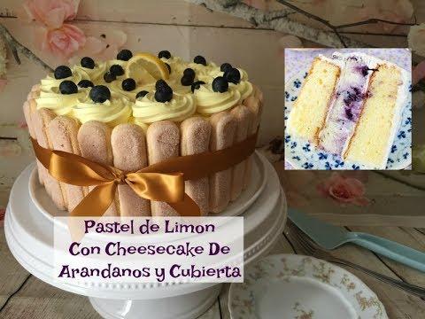 Pastel De Limon Relleno De Cheesecake Con Arándanos y Cubierta