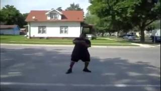Idiot Dancer hit by ice cream truck while doing