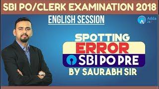 SBI PO/CLERK   Spotting Errors   English   Saurabh Sir