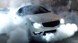 Mercedes C63 AMG - Burnout and FLAMES!