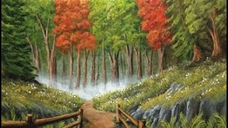 Full Acrylic Painting Tutorial and Perspective Lesson - Path to the Hidden Forest