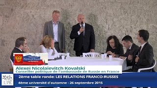 Les relations franco-russes - Table ronde UPR  26/10/2015