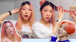Dyeing My Hair BTS Boy With Luv Halsey Pink Ombre To Jimin Rose Gold (yeet)