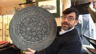 Rare Qajar Iran Tinned Copper Table, Copper Brass Hunting Horn, Stourbridge Glass,