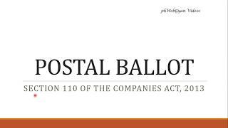 Postal Ballot- Section 110 -Explained by CS Harshita Kant